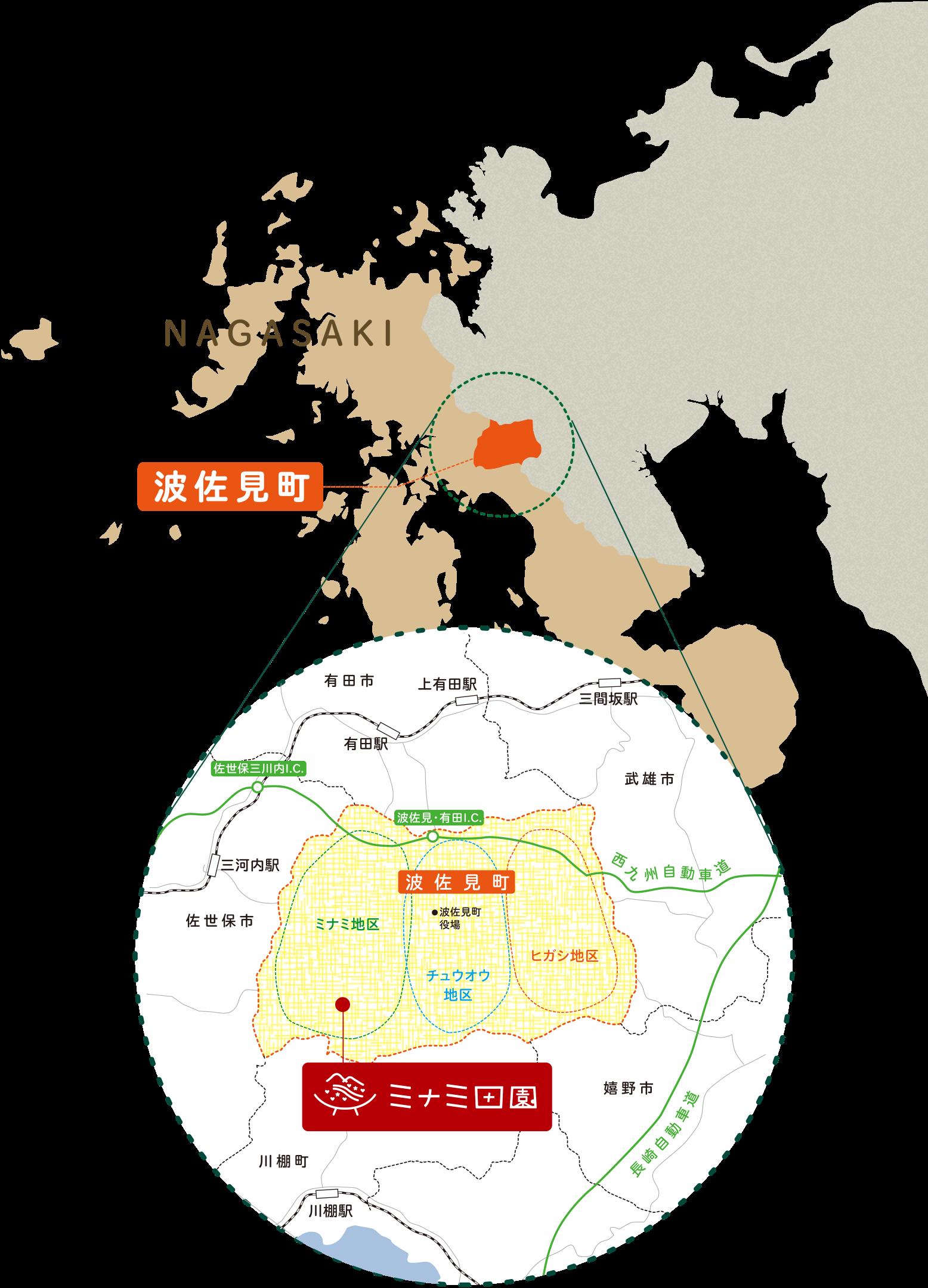 ミナミ田園のマップ